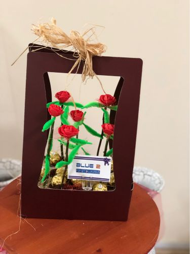 Box chocolate with flowers gift