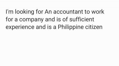 looking for Filipino accountant