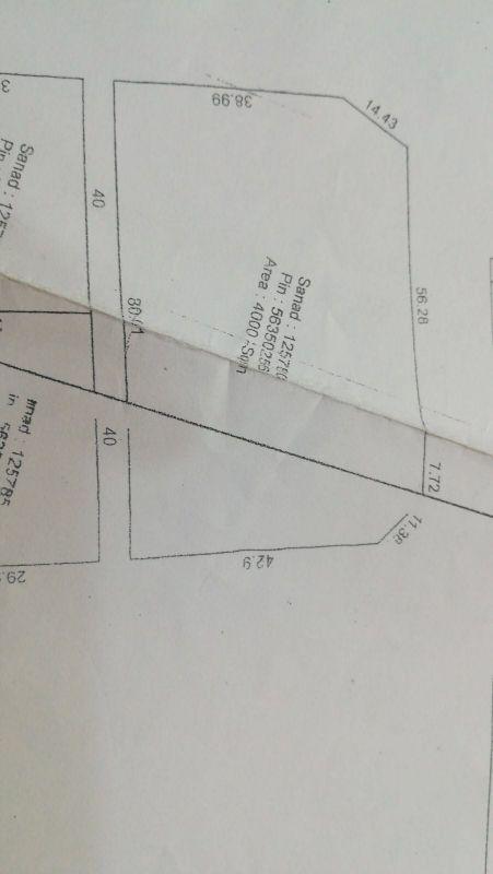 عين خالد ارض 4000 م 2 للبيع