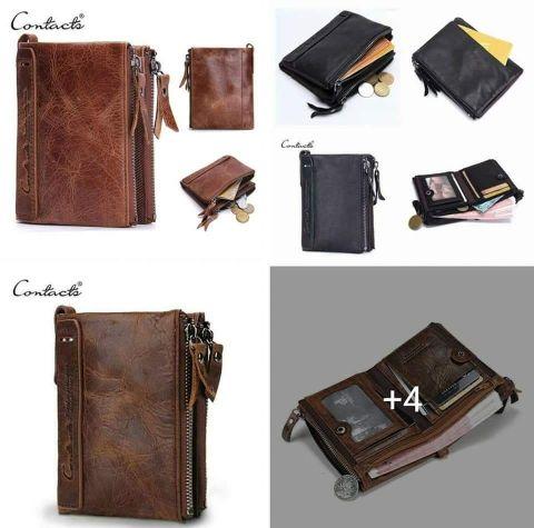 محفظة رجالي جلد طبيعي محفظة نقود مزدوجة