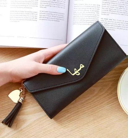 محفظة جلد مع اسم