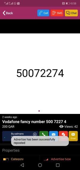 Vodafone fancy number 500 7227 4