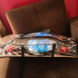 skate board with hilmet