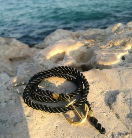 Anchor black bracelet.