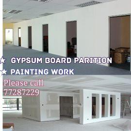 Gypsum board  work. please call 77287229