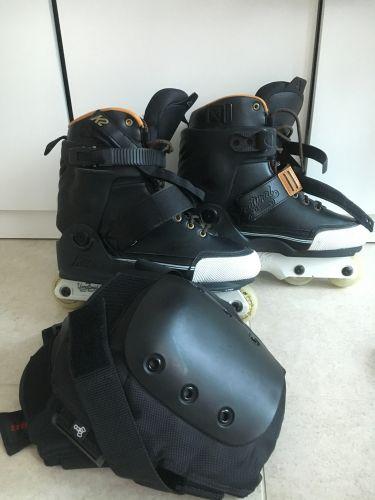 Roller skates and knee braces